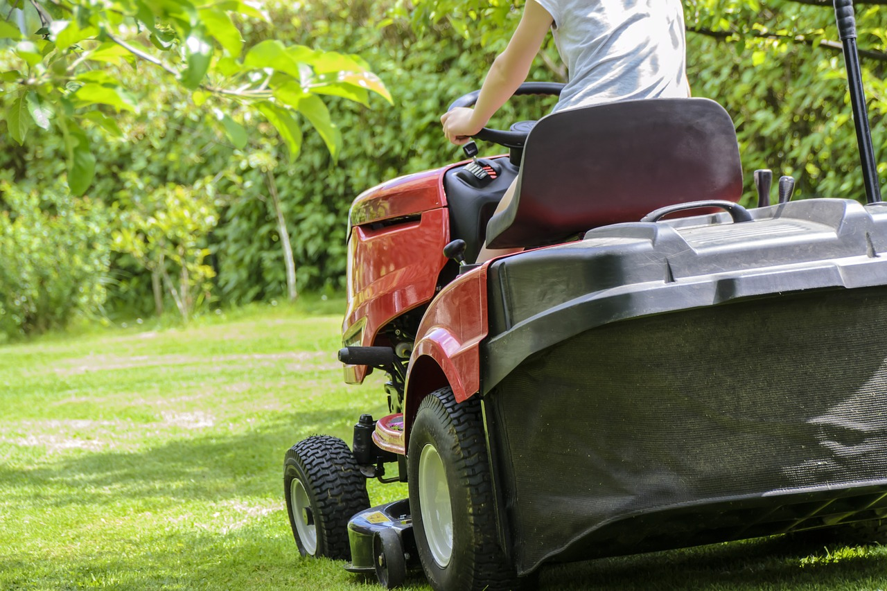 mowing the grass, garden work, lawn